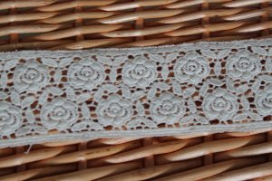 "Sold Out: Cotton Embroidered Lace Trim Floral 1.85"" wide 1.1 yds -have color deviation"