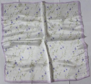 """Gift 20"""" 100% Silk Neck Head Scarf Kerchief Violet Floral Fast Shipping"""