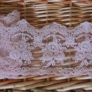 "Fabulous Pink lace trim Embroidered Floral on Mesh 3.15"" Wide 1 yds Fast Shipping"