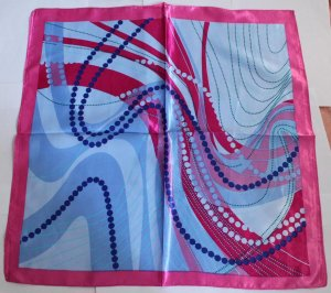 "Gift 24"" Neck Head Scarf Wrap Kerchief Stripes Red Blue Fast Shipping"