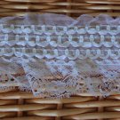 "Fabulous Elastic Stretch White lace trim floral with ribbon 2.6"" Wide 1.1 yds Fast Shipping"