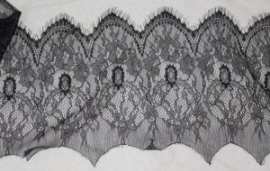 "Sold Out: Fabulous Black lace trim Scalloped Floral 9.4"" Wide 1.59 yds Fast Shipping"