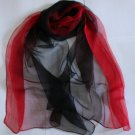 Gift 100% Silk Oblong Scarf Wrap Gradient Red Black Fast Shipping
