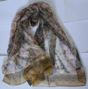 Gift 100% Silk Oblong Scarf Wrap Fast Shipping