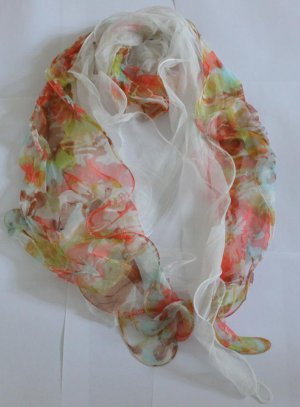Gift 100% Silk 2-layer Long Scarf Wrap Floral Fast Shipping