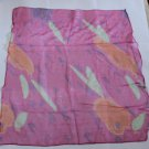 100% Silk Neck Head Scarf Kerchief +Golden Stripes/Drops -must read details