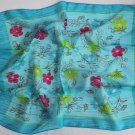 "Gift 24"" Chiffon Neck Head Scarf Wrap Blue Red Flowers -must read details"