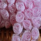 "Rose 3D 3-Row Lace Trim Flowers Rosette on Mesh Pink 1.8"" Wide 0.9 Yd"