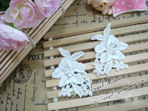 Lovely Cotton Appliques Patch Venise Flowers 4 pcs Fast Shipping
