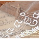 Lace Trim Embroidered Music Notes on Mesh off-white 1.1 yds Fast Shipping