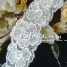 Fabulous Lace Trim Embroidered  Flowers on Mesh 1.6 yds Fast Shipping