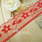 Fabulous Red Lace Trim floral 5.5 yds Fast Shipping