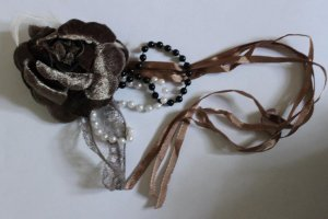 Flowers Appliques Patches Corsage with feather, beads  - Local Pickup Only