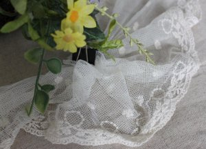 """Fabulous Lace Trim Embroidered Flowers on Mesh Tulle 4.8"""" Wide 2 yds Fast Shipping"""