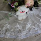"Fabulous Lace Trim Embroidered Flowers on Mesh Tulle 7.5"" Wide 1 yds Fast Shipping"