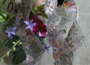 "Fabulous Lace Trim Embroidered Flowers on Mesh 1.77"" Wide 1.1 yds Fast Shipping"