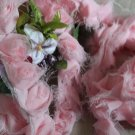 "Rose 3D Lace Trim Flowers Pink Rosette on Mesh 1.18"" Wide 1.1 Yd"