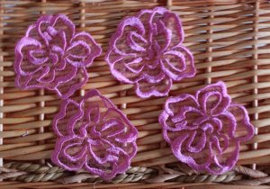 Lovely Appliques Patches Embroidered Flowers on Mesh 4 pcs Fast Shipping