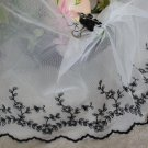 "Fabulous Lace Trim Embroidered Floral 8.46"" Wide 1.2 yds Black flowers Fast Shipping"