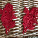Lovely Red Venise Flowers Appliques Patches collars 2 pcs Fast Shipping