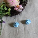 Gorgeous Flowers Buds Appliques Patches 2 pcs Twirls Blue Fast Shipping