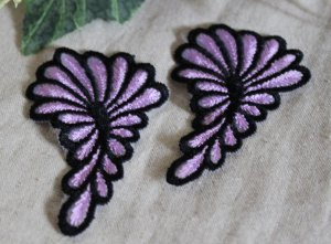 Embroidered Foral on Mesh Appliques Patch 2 pcs Fast Shipping