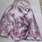 Beautiful Silk Like Chiffon Oblong Scarf -- Flowers Gorgeous