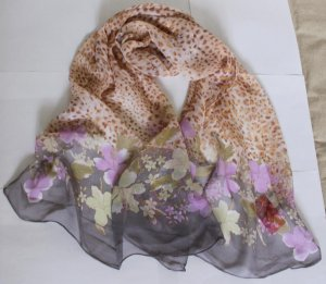 Beautiful Silk Like Chiffon Oblong Scarf -- Flowers Gorgeous