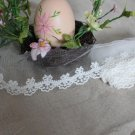 Lace Trim Embroidered  Flowers on Mesh  1 yd - must read details