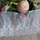 Fabulous Lace Trim Embroidered Floral on Mesh Tulle 1.1 yd Fast Shipping