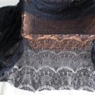 "Fabulous Black Lace Floral Fabric Eyelash 63"" x 19.7"" Fast Shipping"