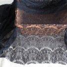 "Fabulous Black Lace Floral Fabric Eyelash 63"" x 19.7"" Fast Shipping"