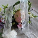 Fabulous Lace Trim Embroidered Floral on Mesh Tulle 1.6 yd with defects