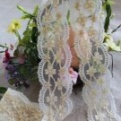 Fabulous Lace Trim Embroidered Floral on Mesh Tulle 1.4 yd Fast Shipping