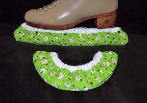 Lime Green and Gold Metallic Ice Skating Hockey Soakers Blade  Covers