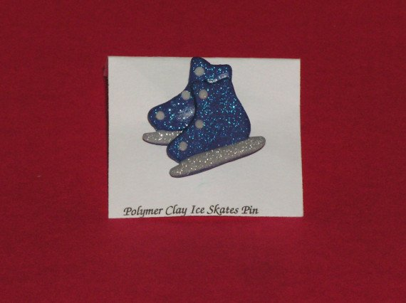 Ice Skate Pin - Blue Polymer Clay Jewelry