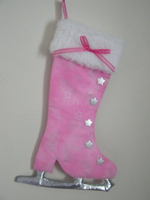 Ice Skate Stocking Pink and Silver Wall Hanging Stocking