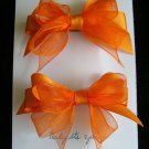Two Orange Ribbon Hair Bow Barrettes