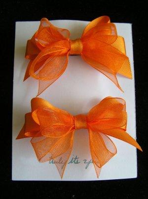 Two Orange Ribbon Hair Bow Barrettes