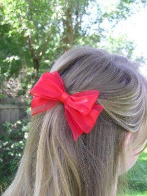 Red Ribbon Hair Bow Barrette