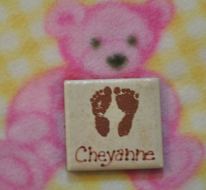 Little Feet Baby Magnet Embossed and Personalized
