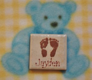 Little Feet Personalized and Embossed Baby Magnet
