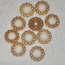 10 Gold and White Dome Plastic Shank Buttons