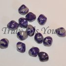 Purple and Silver Bicone Polymer Clay Loose Beads