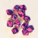 Bicone Polymer Clay Beads - Pink and Purple