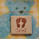 Embossed Ceramic Tile Baby Magnet - Little Feet Caleb