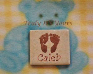 Embossed Ceramic Tile Baby Magnet - Little Feet Caleb