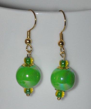 Green Glass Bead Earrings, Dangling Earrings