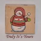 Gently Used Snowman Wood Mounted Rubber Stamp