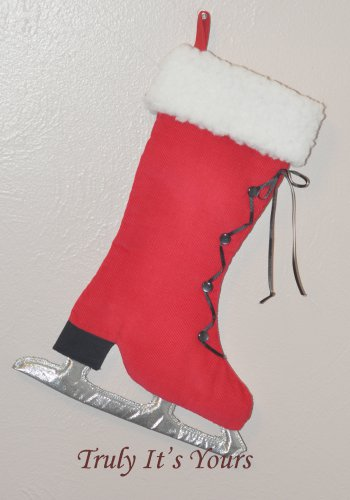 Ice Skate Stocking Wall Hanging Red Corduroy Stocking